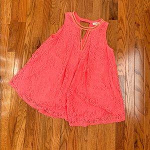 🌸EUC- Umgee Coral Lace Tunic Size S